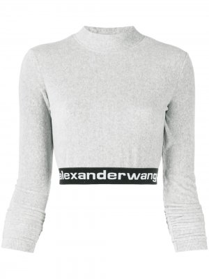 Long-sleeve crop top T By Alexander Wang. Цвет: серый