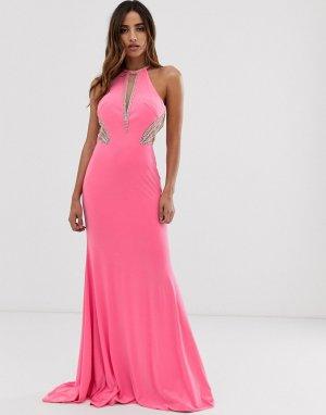 Платье макси с американской проймой и отделкой по бокам -Розовый Jovani