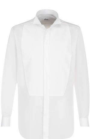 Хлопковая сорочка с воротником бабочка Brioni. Цвет: белый