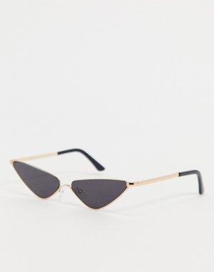 Черные солнцезащитные очки кошачий глаз -Золотистый AJ Morgan