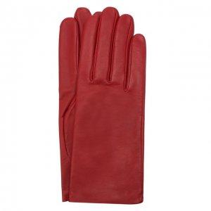 Кожаные перчатки с подкладкой из шелка Agnelle. Цвет: красный
