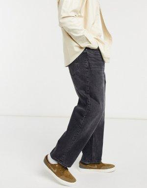 Черные широкие джинсы -Голубой Bershka