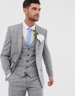 Серый приталенный пиджак в клетку Wedding River Island