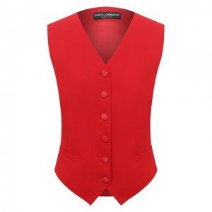 Жилет из шерсти и шелка Dolce & Gabbana. Цвет: красный