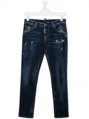 Состаренные прямые джинсы Dsquared2 Kids. Цвет: синий