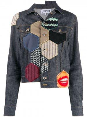 Джинсовая куртка в технике пэчворк Loewe. Цвет: синий