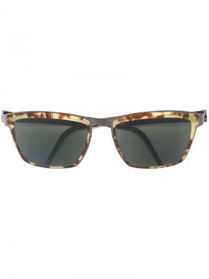 Солнцезащитные очки в квадратной оправе Lindberg. Цвет: чёрный