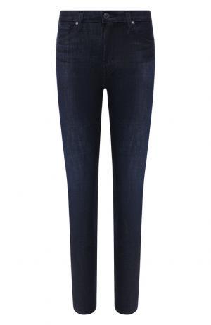 Укороченные джинсы с потертостями Ag. Цвет: синий