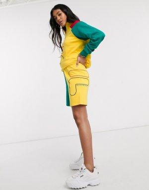 Свободные шорты колор блок от комплекта -Желтый Fila