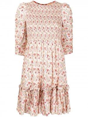 Платье с цветочным принтом и сборками byTiMo. Цвет: розовый