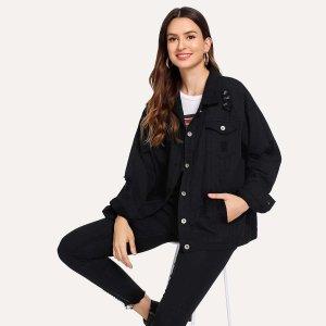 Рваная джинсовая ветровка с двумя кармана SHEIN. Цвет: чёрный