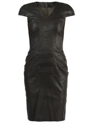 Кожаное платье jitrois. Цвет: коричневый