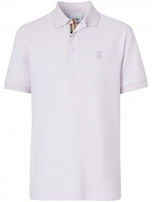Рубашка поло с короткими рукавами и монограммой Burberry. Цвет: нейтральные цвета