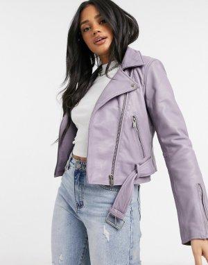 Кожаная байкерская куртка Savanna Nirvana-Фиолетовый цвет Bolongaro Trevor