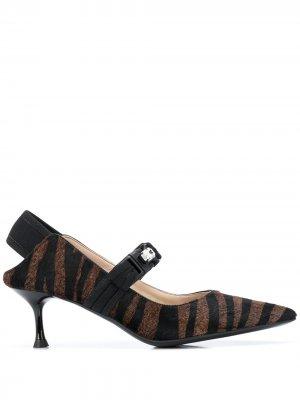 Туфли-лодочки с зебровым принтом Alberto Gozzi. Цвет: коричневый