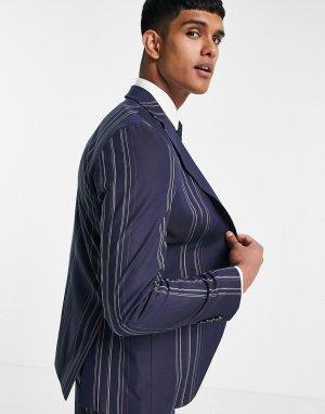 Темно-синий пиджак узкого кроя в белую полоску -Multi Selected Homme