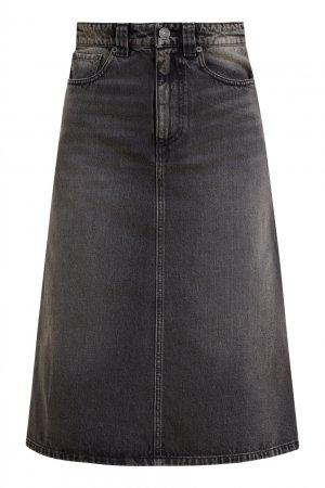 Юбка из черного денима Balenciaga. Цвет: черный