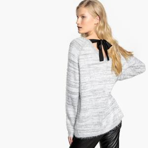 Пуловер из ткани меланж с v-образным вырезом и завязками сзади KAPORAL. Цвет: светло-серый в полоску