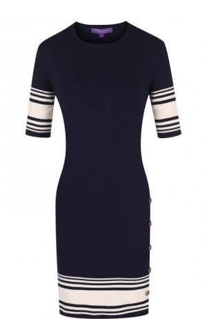 Вязаное мини-платье из смеси хлопка и кашемира Ralph Lauren. Цвет: синий