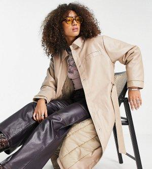 Макинтош из искусственной кожи светло-бежевого цвета в стиле 90-х Inspired-Коричневый цвет Reclaimed Vintage