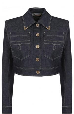 Укороченная джинсовая куртка с контрастной прострочкой Versace. Цвет: темно-синий