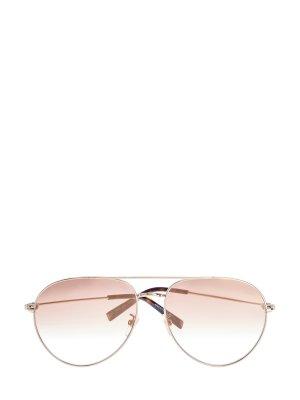 Очки-авиаторы с двойным мостом из золотистого металла GIVENCHY (sunglasses). Цвет: бежевый