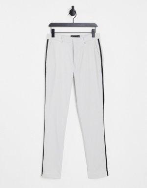 Зауженные брюки от смокинга цвета серого льда -Серый ASOS DESIGN
