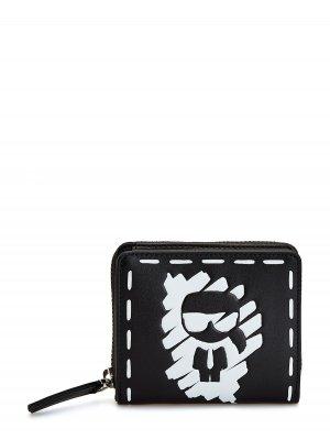 Складной бумажник с эксклюзивным декором K/Ikonik KARL LAGERFELD. Цвет: черный