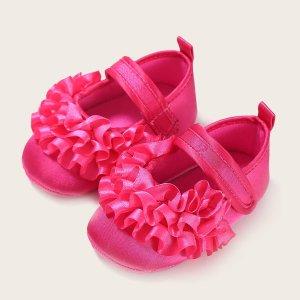 Балетки на липучке для девочек SHEIN. Цвет: ярко-розовый