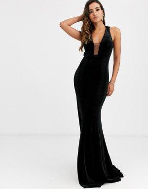 Платье с глубоким вырезом -Черный Jovani