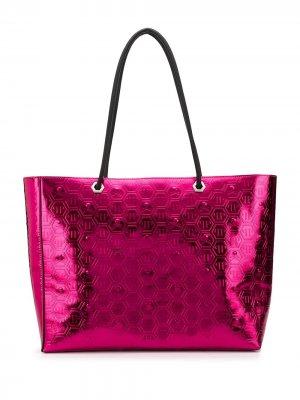 Сумка-шопер с логотипом Philipp Plein. Цвет: розовый