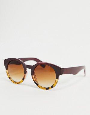 Круглые солнцезащитные очки в бордовой и черепаховой оправе стиле омбре -Красный AJ Morgan