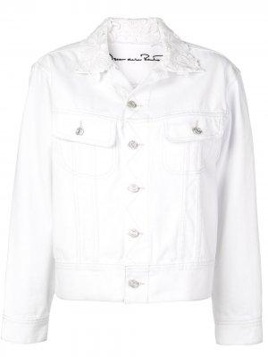 Джинсовая куртка Lucy с вышивкой Oscar de la Renta. Цвет: белый