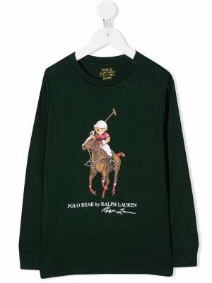Polo Bear-print cotton sweatshirt Ralph Lauren Kids. Цвет: зеленый