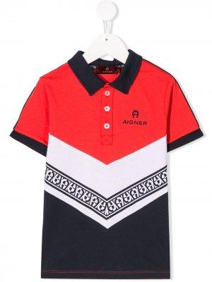 Рубашка-поло в стиле колор-блок Aigner Kids. Цвет: красный