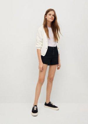 Джинсовые шорты с пуговицами - Rose Mango. Цвет: черный деним