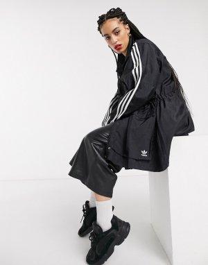 Черная ветровка с тремя полосками Bellista-Черный adidas Originals