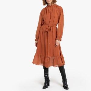 Платье La Redoute. Цвет: каштановый