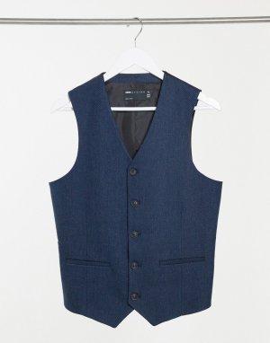 Темно-синий приталенный жилет с добавлением шерсти и узором в елочку Wedding ASOS DESIGN