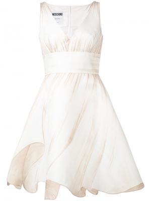 Платье с расклешенной юбкой Moschino. Цвет: нейтральные цвета