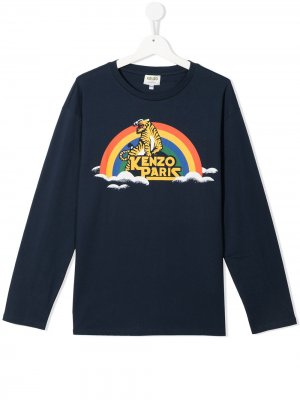Футболка с логотипом Kenzo Kids. Цвет: синий