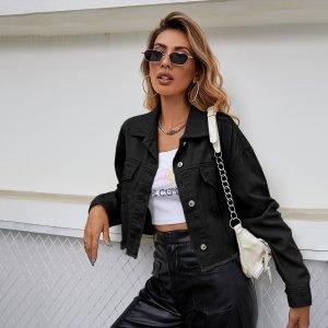 Джинсовая куртка с необработанным краем SHEIN. Цвет: чёрный