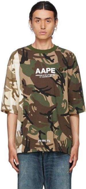 Green & Beige Camo T-Shirt AAPE by A Bathing Ape. Цвет: grz green (multi)