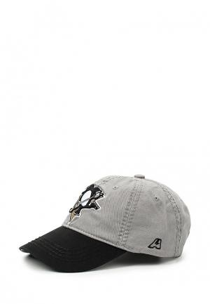 Бейсболка Atributika & Club™ NHL Pittsburgh Penguins. Цвет: серый