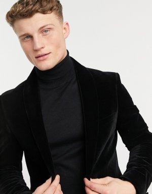 Бархатный пиджак черного цвета Moss London-Черный цвет BROS