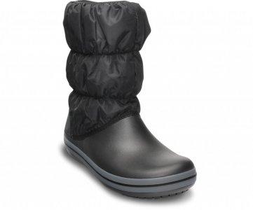 Зимние сапоги женские CROCS Women's Winter Puff Boot Black/Charcoal (Черный/Серый) арт. 14614. Цвет: черный/серый