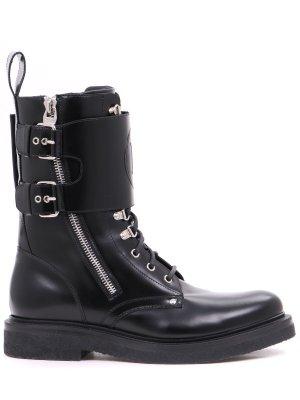 Ботинки кожаные Balmain. Цвет: черный