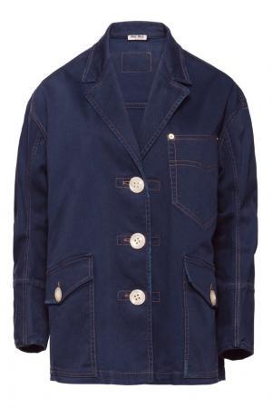 Джинсовая куртка oversize Miu. Цвет: синий