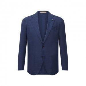Пиджак из шерсти и шелка Sartoria Latorre. Цвет: синий
