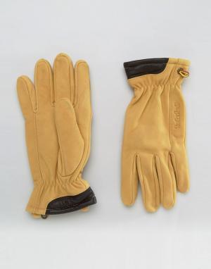Перчатки из натуральной замши Timberland. Цвет: бежевый